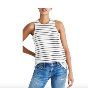 Madewell blue and white striped tank with bow in b